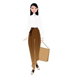 fashion girl with shopping bag vector image