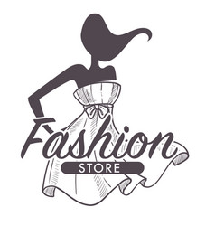 Fashion store or female clothes shop isolated vector