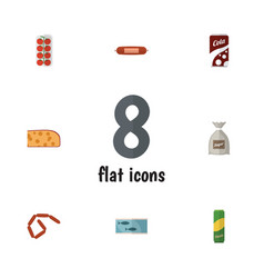Flat icon food set of sack tin tuna cheddar vector