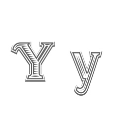 Font tattoo engraving letter Y vector
