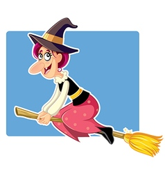 Funny Halloween Witch on a Broomstick vector image