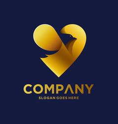 Gold eagle logo design vector