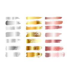 gold silver and rose gold paint smear stroke vector image