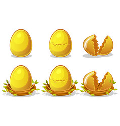 golden eggs in birds nest of twigs easter vector image