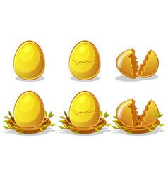 golden eggs in birds nest twigs easter vector image