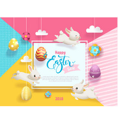 Happy easter sale card decorated eggs hanging on vector