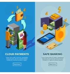 Isometric Vertical Bank Banners vector image