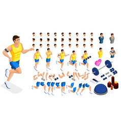 isometrics create your sporty inflated man vector image