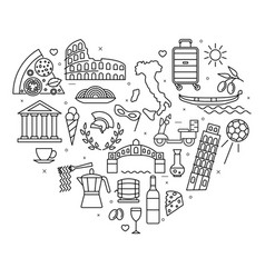 italy love heart shape design template black thin vector image