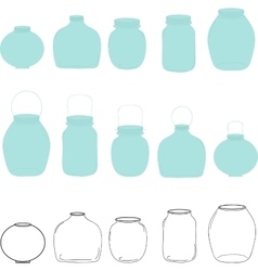 Jars set silhouettes jar vector image