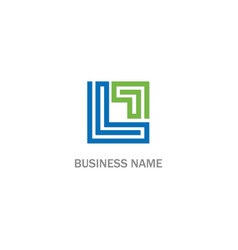 l initial square line company logo vector image
