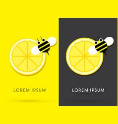 Lemon and bee vector