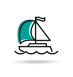 Line icon - yacht with sail and flag vector