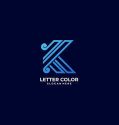 logo letter k gradient colorful style vector image