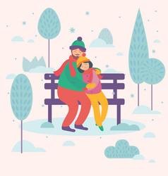 love couple sitting on bench postcard design vector image