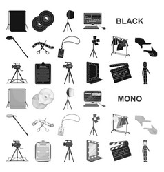 making a movie black icons in set collection for vector image
