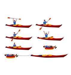 man in kayak set 02 vector image