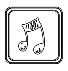 Monochrome contour with button of musical note vector