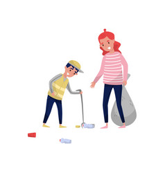 mother and her son gathering garbage and plastic vector image