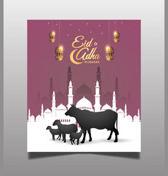 Muslim celebration with black sheep mosque vector
