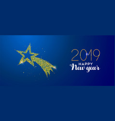 New year 2019 gold glitter holiday shooting star vector