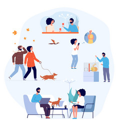 One couple life daily routine cozy home vector