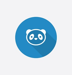 panda Flat Blue Simple Icon with long shadow vector image