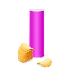 Pink Box with Stack of Potato Crispy Chips vector