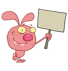 Pink Bunny Rabbit Holding Up A Blank Sign vector image