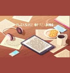 Pleasure of reading isometric vector