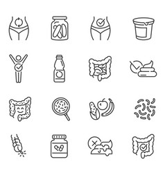 probiotics dietary supplements thin line icons vector image