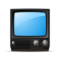 Retro tv set with blank screen - old tv vector