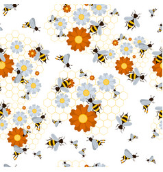 seamless pattern for beekeeping set vector image