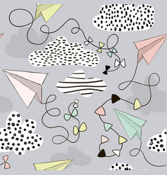 Seamless pattern paper airplanes and clouds hand vector