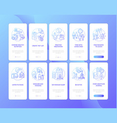 Self care onboarding mobile app page screen vector