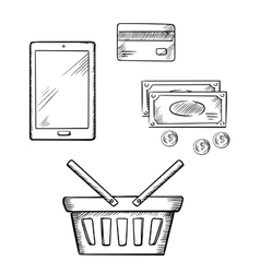 Shopping icons with tablet money and credit card vector image