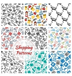 Shopping retail seamless patterns set vector