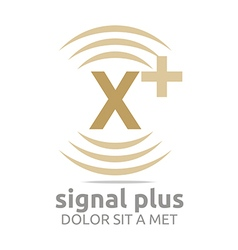 Signal letter x plus brown alphabet wireless vector