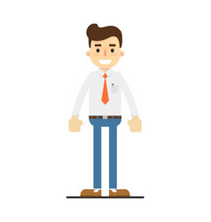 smiling retail consultant character in flat design vector image