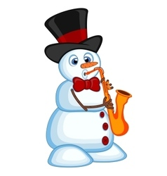 Snowman wearing a hat and bow ties play saxophone vector