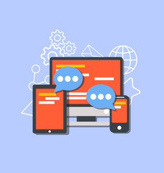 social media concept flat design community online vector image