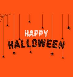 Spiders on scribble happy halloween text vector