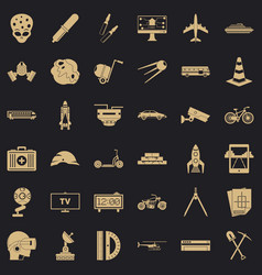 strategy development icons set simple style vector image