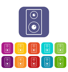 Subwoofer icons set flat vector
