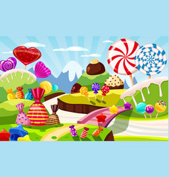 sweet candy world fairy landscape panorama vector image
