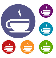 tea cup and saucer icons set vector image