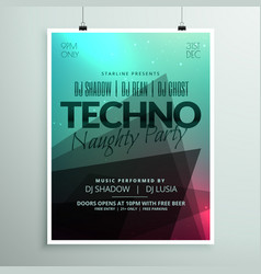 Techno music party flyer brochure template in vector