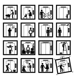 Things that people do inside elevator lift stick vector