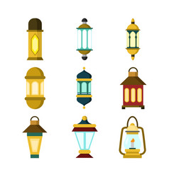 various hanging lantern design set vector image