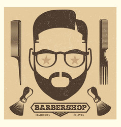Vintage barbershop poster template fashion vector